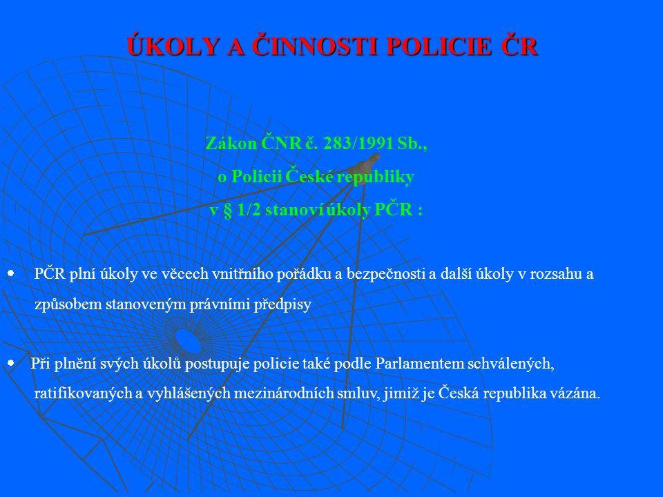 V policii působí : služba pořádkové policie, služba pořádkové policie, služba kriminální policie a vyšetřování, služba kriminální policie a vyšetřování, služba dopravní policie, služba dopravní policie, služba správních činností, služba správních činností, ochranná služba, ochranná služba, služba cizinecké a pohraniční policie, služba cizinecké a pohraniční policie, služba rychlého nasazení, služba rychlého nasazení, služba železniční policie, služba železniční policie, letecká služba.