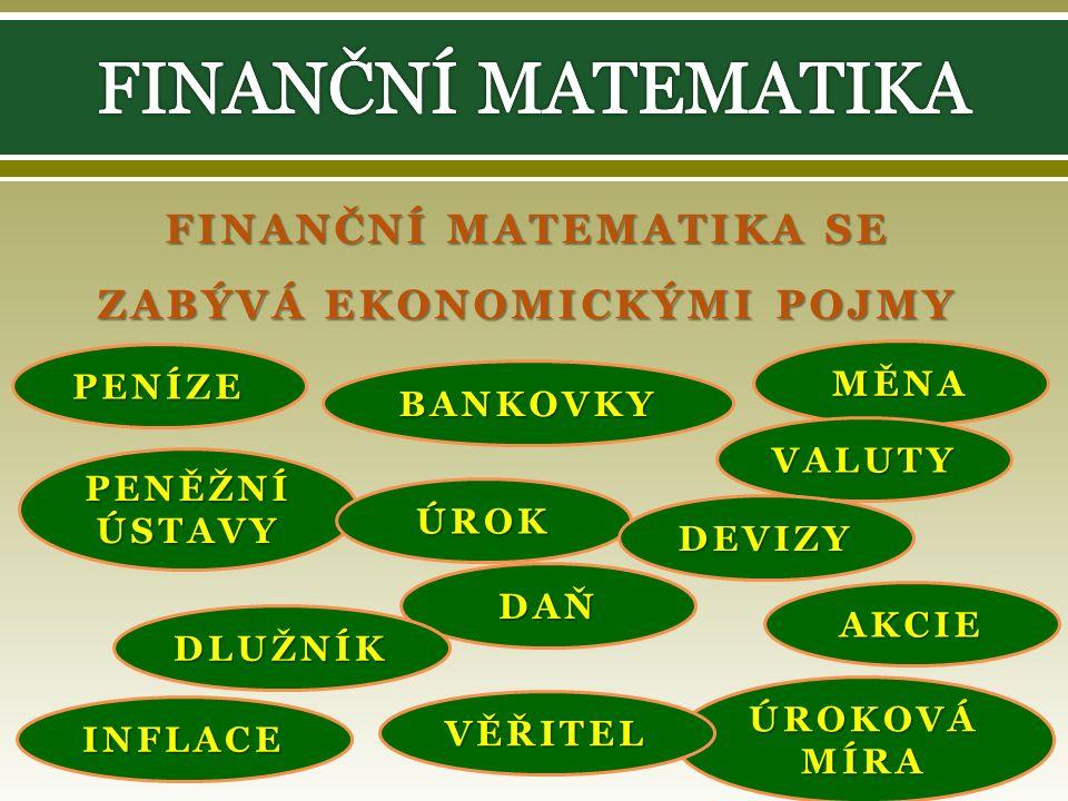 FINANČNÍ MATEMATIKA SE ZABÝVÁ EKONOMICKÝMI POJMY PENÍZE BANKOVKY MĚNA PENĚŽNÍ ÚSTAVY ÚROK VALUTY DEVIZY DAŇ DLUŽNÍK INFLACE ÚROKOVÁ MÍRA VĚŘITEL AKCIE