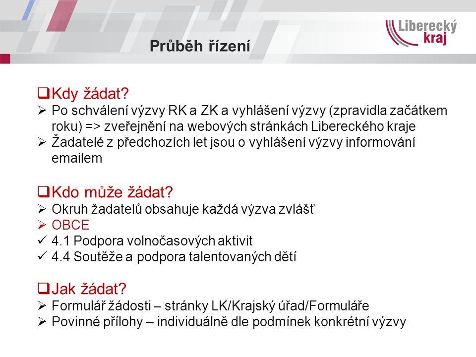 Průběh řízení  Kdy žádat?  Po schválení výzvy RK a ZK a vyhlášení výzvy (zpravidla začátkem roku) => zveřejnění na webových stránkách Libereckého kr