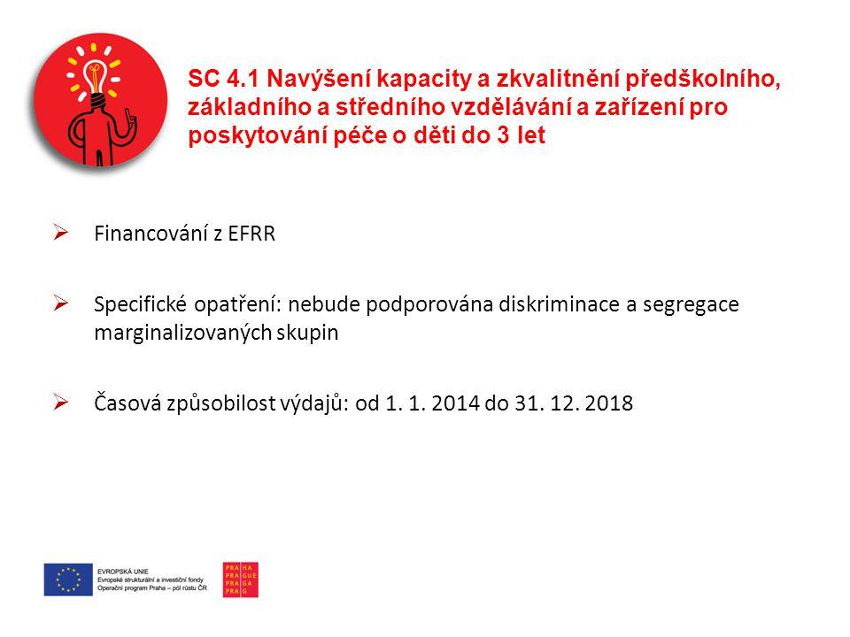 SC 4.1 Navýšení kapacity a zkvalitnění předškolního, základního a středního vzdělávání a zařízení pro poskytování péče o děti do 3 let  Financování z EFRR  Specifické opatření: nebude podporována diskriminace a segregace marginalizovaných skupin  Časová způsobilost výdajů: od 1.