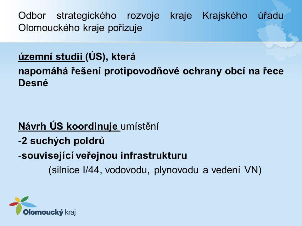 Odbor strategického rozvoje kraje Krajského úřadu Olomouckého kraje pořizuje územní studii (ÚS), která napomáhá řešení protipovodňové ochrany obcí na řece Desné Návrh ÚS koordinuje umístění -2 suchých poldrů -související veřejnou infrastrukturu (silnice I/44, vodovodu, plynovodu a vedení VN)