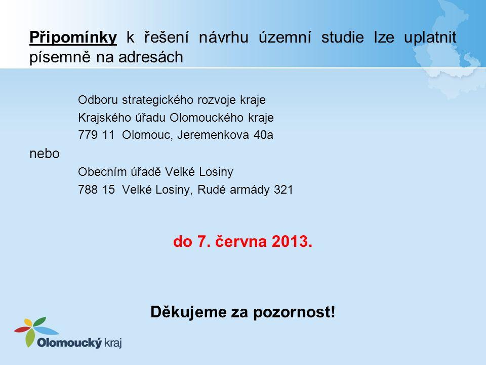 Připomínky k řešení návrhu územní studie lze uplatnit písemně na adresách Odboru strategického rozvoje kraje Krajského úřadu Olomouckého kraje 779 11 Olomouc, Jeremenkova 40a nebo Obecním úřadě Velké Losiny 788 15 Velké Losiny, Rudé armády 321 do 7.