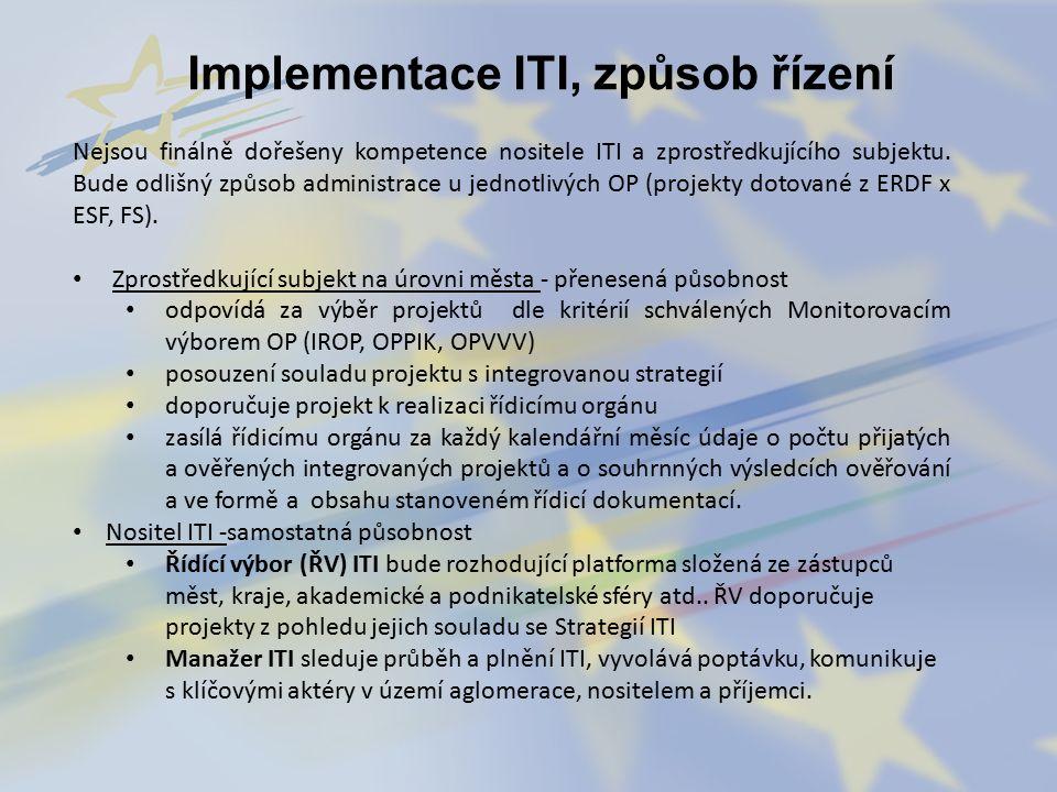 Implementace ITI, způsob řízení Nejsou finálně dořešeny kompetence nositele ITI a zprostředkujícího subjektu.