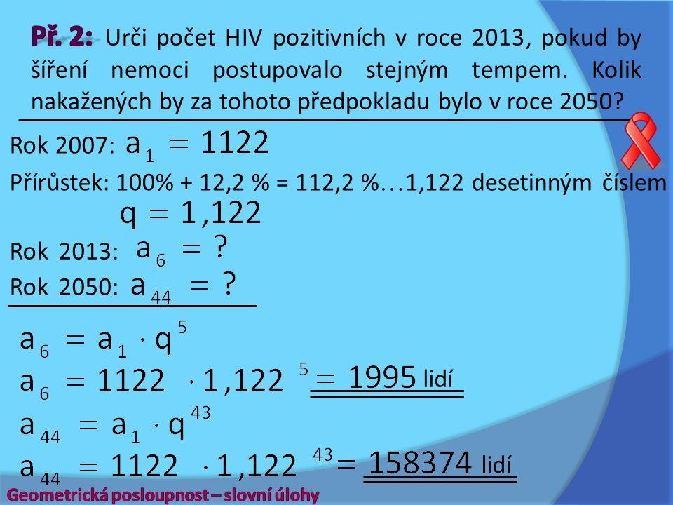 Přírůstek: Rok 2007: Rok 2013: Rok 2050: lidí 100% + 12,2 % = 112,2 %  1,122 desetinným číslem lidí