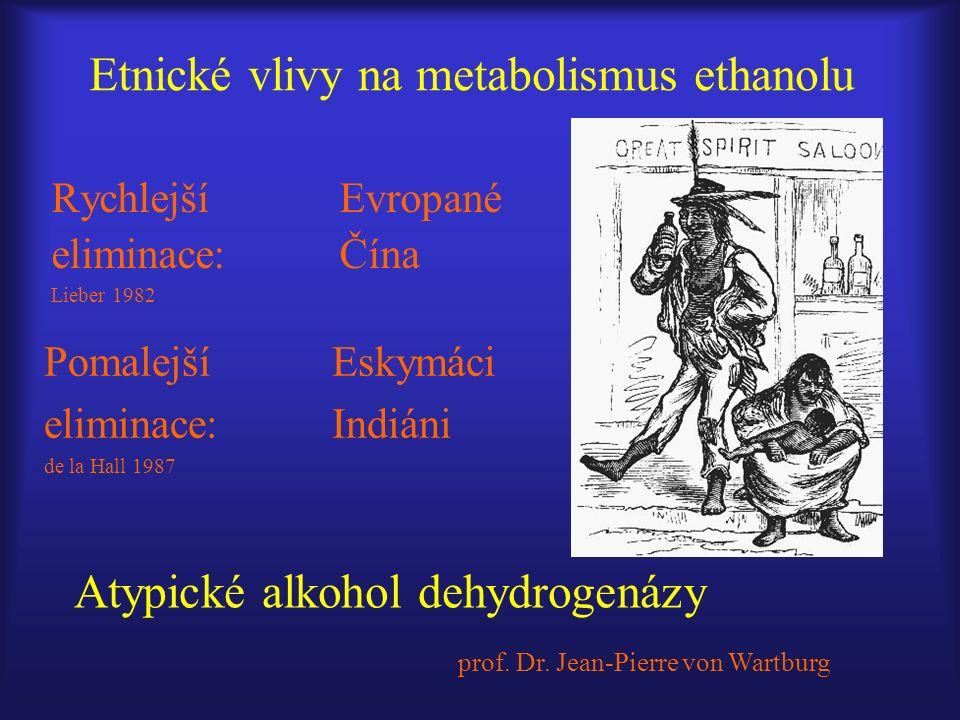 Etnické vlivy na metabolismus ethanolu Rychlejší Evropané eliminace: Čína Lieber 1982 Pomalejší Eskymáci eliminace: Indiáni de la Hall 1987 Atypické alkohol dehydrogenázy prof.