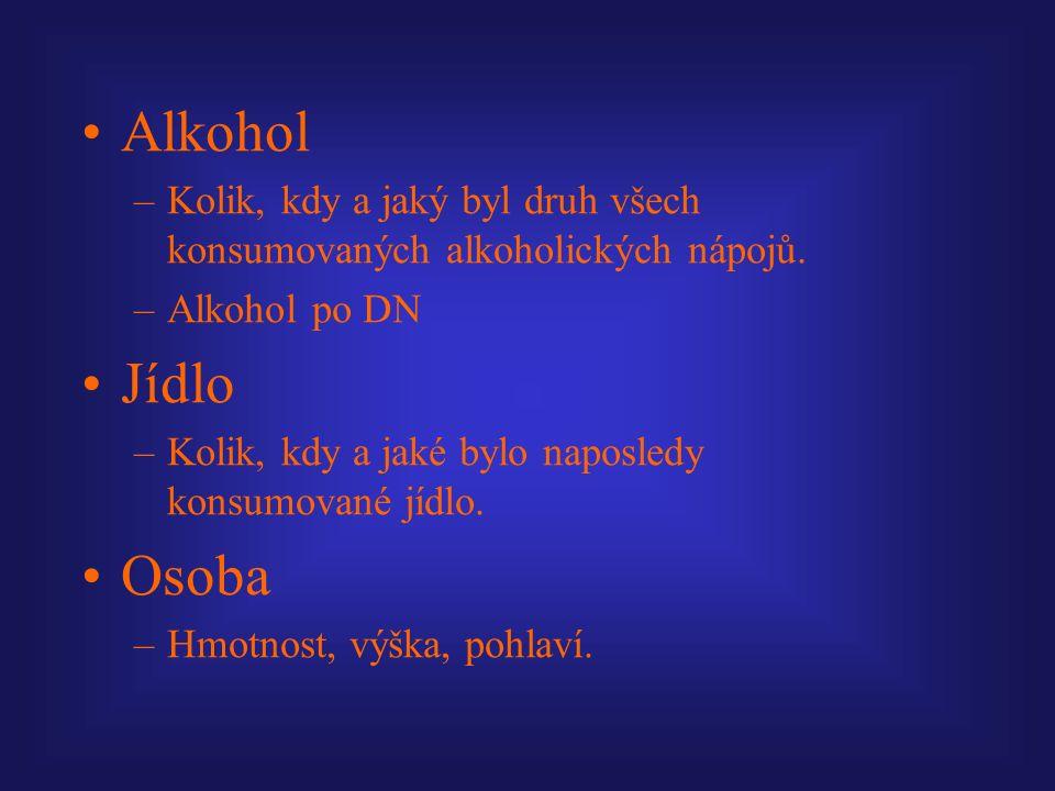 Alkohol –Kolik, kdy a jaký byl druh všech konsumovaných alkoholických nápojů.