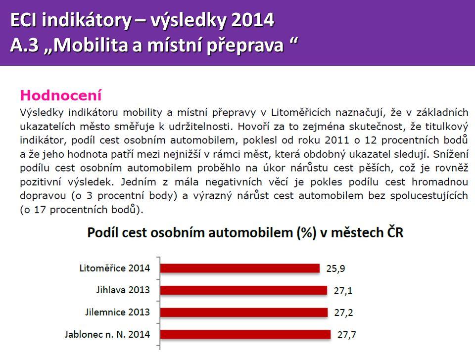 """ECI indikátory – výsledky 2014 ECI indikátory – výsledky 2014 A.3 """"Mobilita a místní přeprava A.3 """"Mobilita a místní přeprava"""