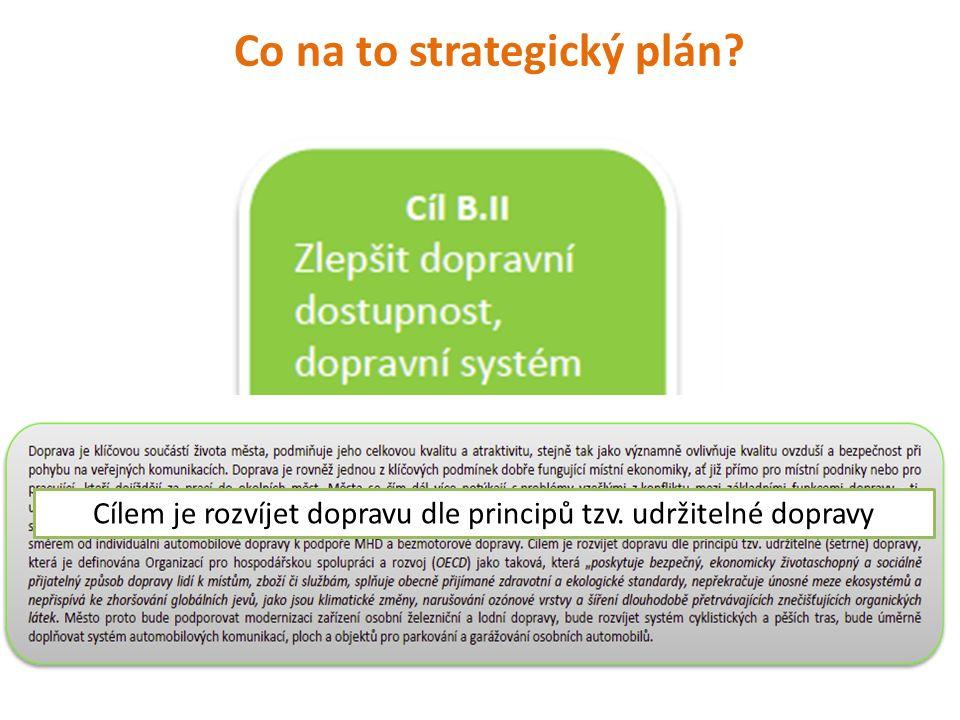 Co na to strategický plán? Cílem je rozvíjet dopravu dle principů tzv. udržitelné dopravy