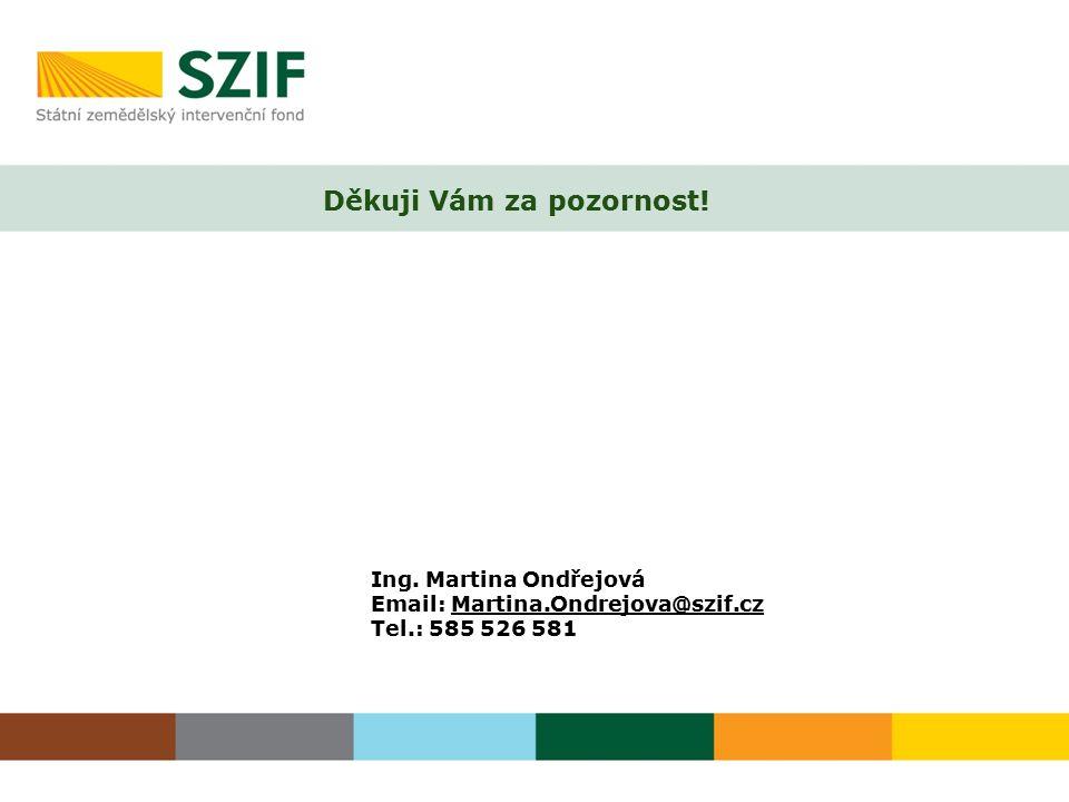 Děkuji Vám za pozornost! Ing. Martina Ondřejová Email: Martina.Ondrejova@szif.cz Tel.: 585 526 581