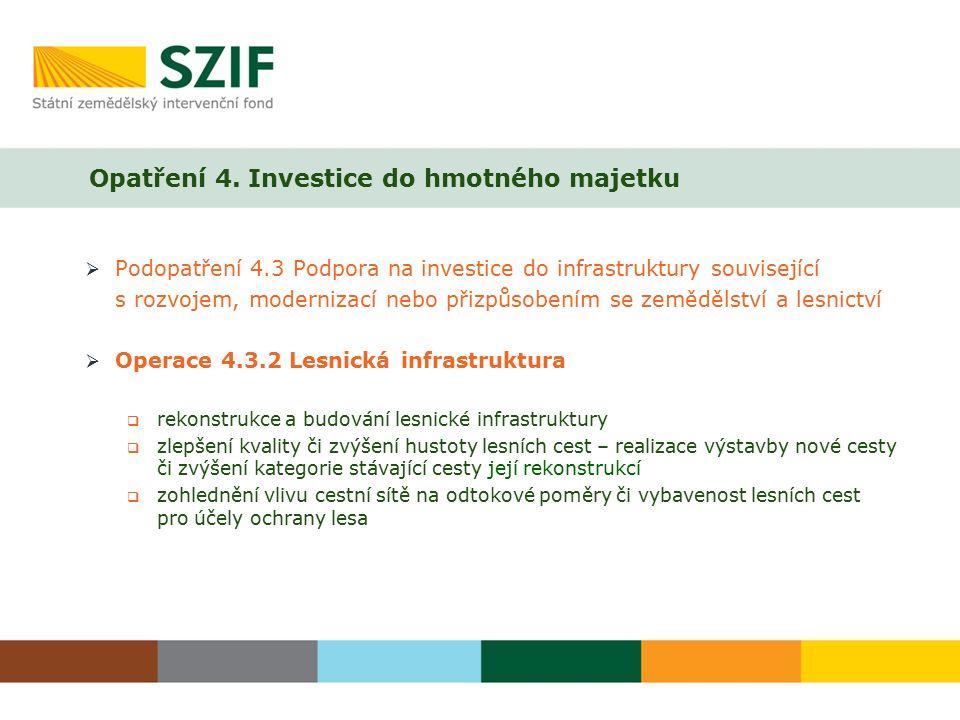 Opatření 4. Investice do hmotného majetku  Podopatření 4.3 Podpora na investice do infrastruktury související s rozvojem, modernizací nebo přizpůsobe