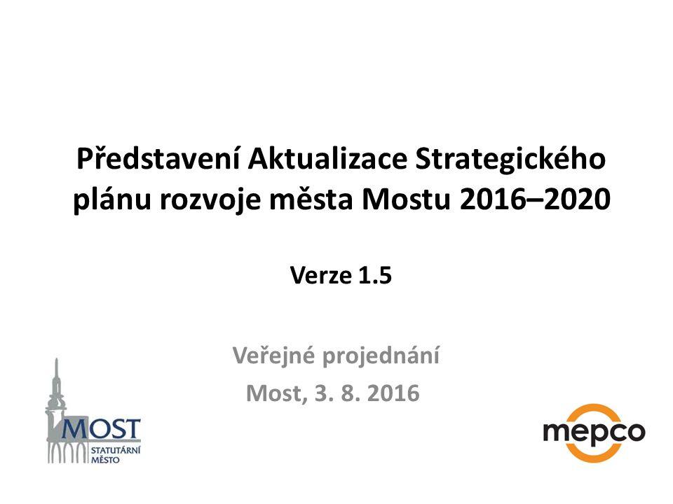 Představení Aktualizace Strategického plánu rozvoje města Mostu 2016–2020 Verze 1.5 Veřejné projednání Most, 3.