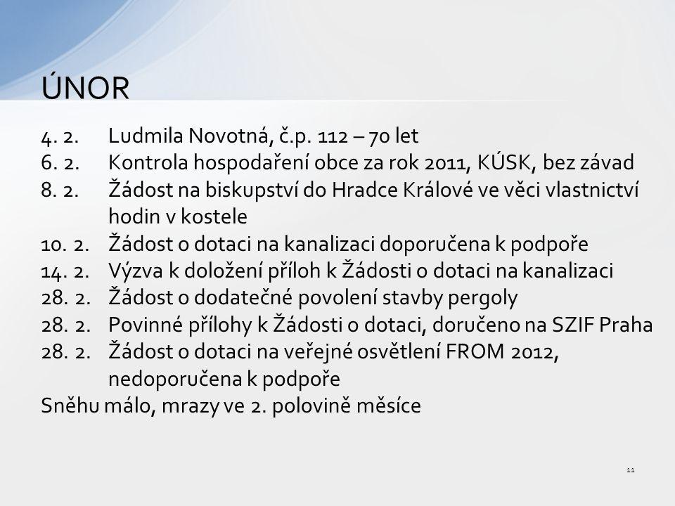 4. 2.Ludmila Novotná, č.p. 112 – 70 let 6. 2.Kontrola hospodaření obce za rok 2011, KÚSK, bez závad 8. 2.Žádost na biskupství do Hradce Králové ve věc