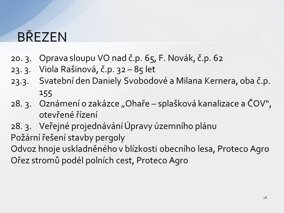 20. 3. Oprava sloupu VO nad č.p. 65, F. Novák, č.p.