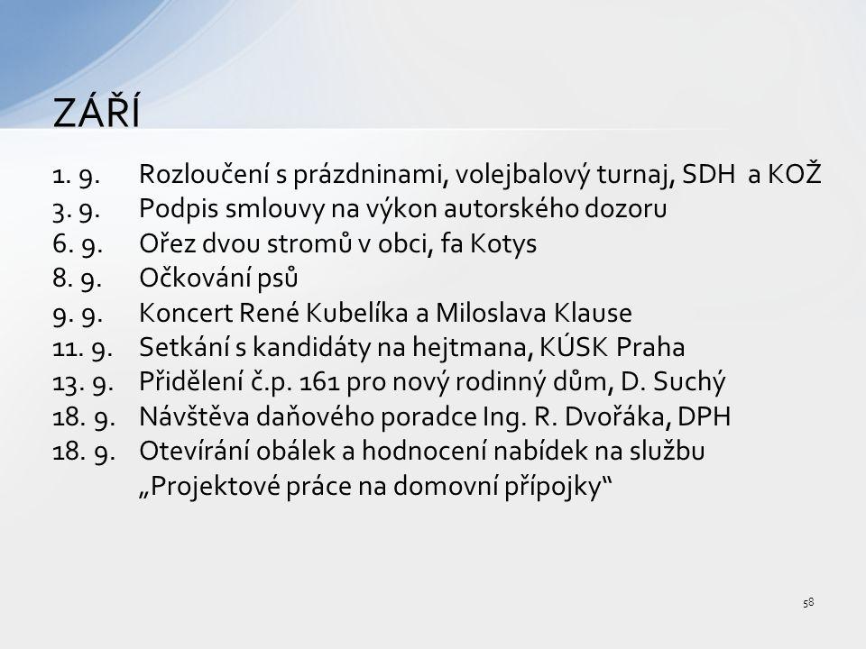 1. 9.Rozloučení s prázdninami, volejbalový turnaj, SDH a KOŽ 3.