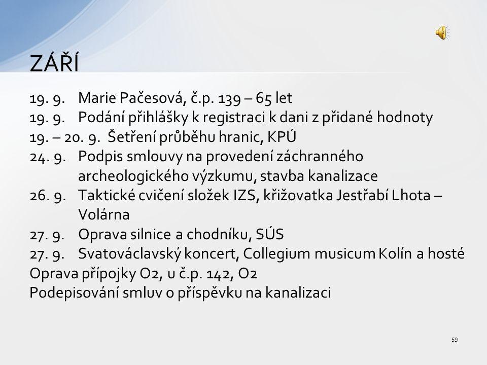 19. 9.Marie Pačesová, č.p. 139 – 65 let 19.