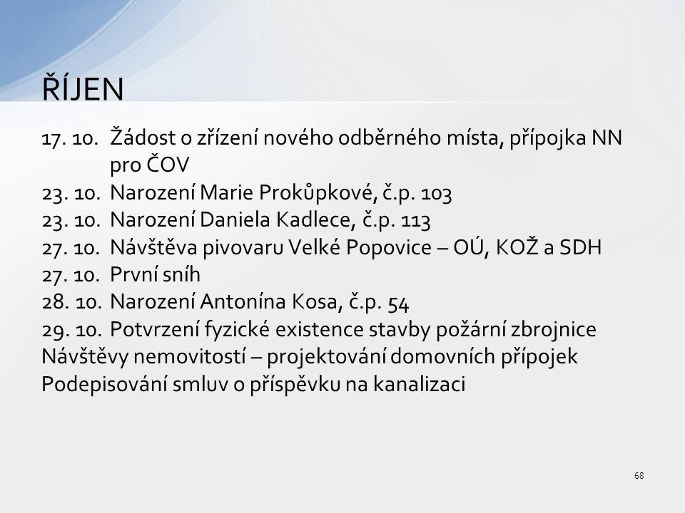 17. 10.Žádost o zřízení nového odběrného místa, přípojka NN pro ČOV 23.