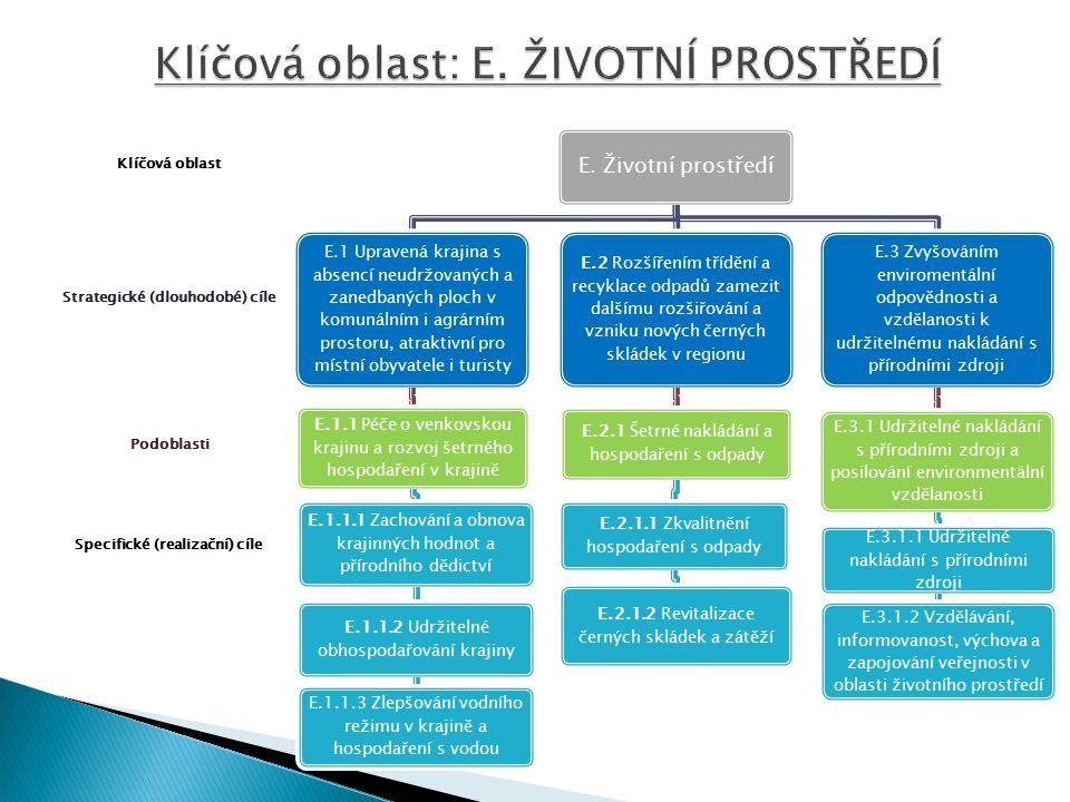 Specifické (realizační) cíle Podoblasti Strategické (dlouhodobé) cíle Klíčová oblast E.