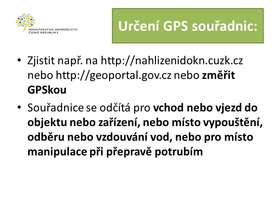 Určení GPS souřadnic: Zjistit např.