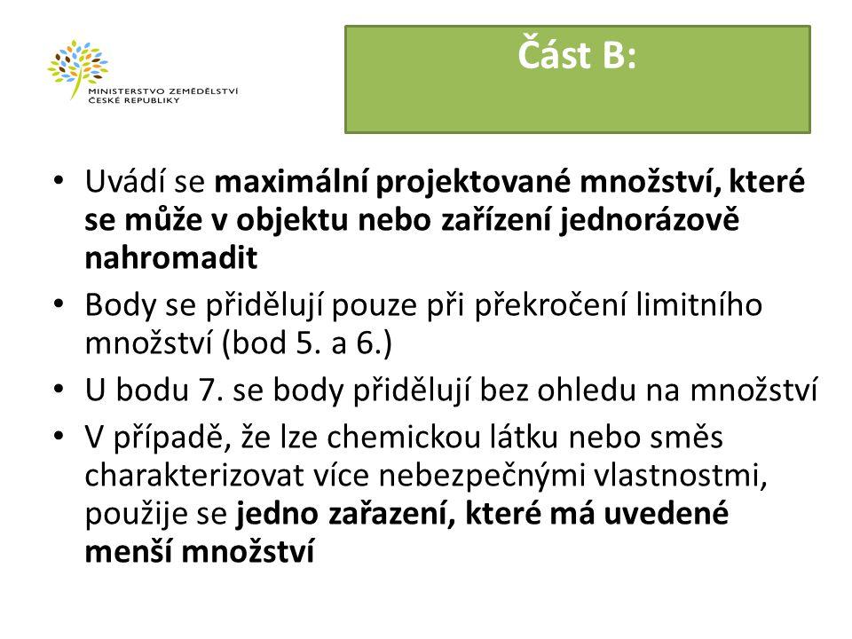 Část B: Uvádí se maximální projektované množství, které se může v objektu nebo zařízení jednorázově nahromadit Body se přidělují pouze při překročení limitního množství (bod 5.