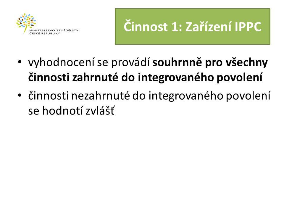 Činnost 1: Zařízení IPPC vyhodnocení se provádí souhrnně pro všechny činnosti zahrnuté do integrovaného povolení činnosti nezahrnuté do integrovaného povolení se hodnotí zvlášť