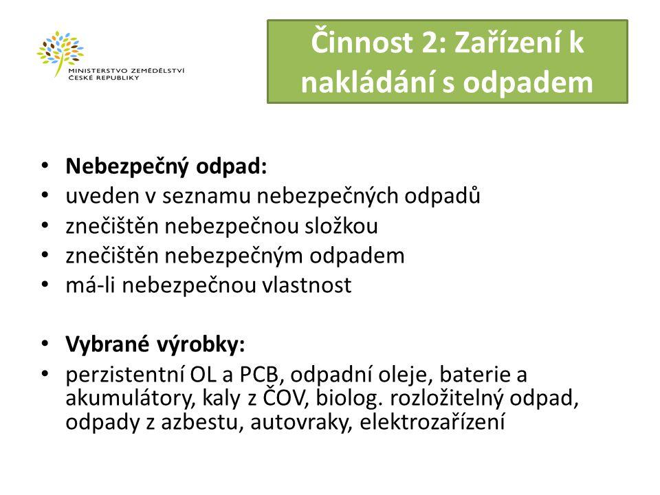 Činnost 2: Zařízení k nakládání s odpadem Nebezpečný odpad: uveden v seznamu nebezpečných odpadů znečištěn nebezpečnou složkou znečištěn nebezpečným odpadem má-li nebezpečnou vlastnost Vybrané výrobky: perzistentní OL a PCB, odpadní oleje, baterie a akumulátory, kaly z ČOV, biolog.