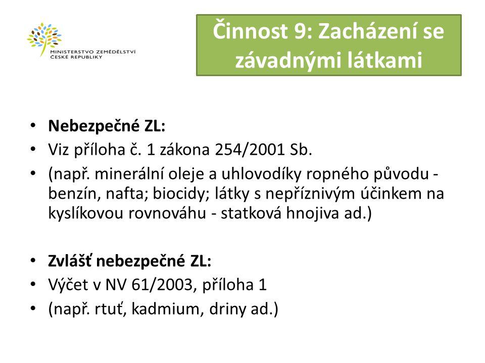 Činnost 9: Zacházení se závadnými látkami Nebezpečné ZL: Viz příloha č.