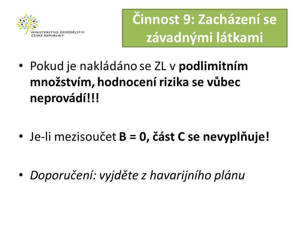 Činnost 9: Zacházení se závadnými látkami Pokud je nakládáno se ZL v podlimitním množstvím, hodnocení rizika se vůbec neprovádí!!.