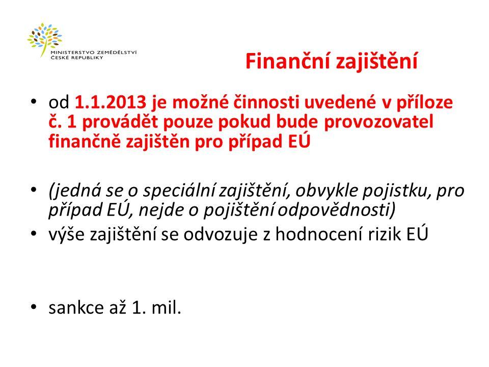 Výjimky z finančního zajištění Zajistit se nemusí: EÚ do 20 mil.