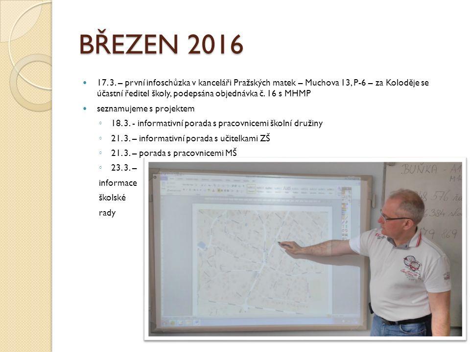 BŘEZEN 2016 17. 3. – první infoschůzka v kanceláři Pražských matek – Muchova 13, P-6 – za Koloděje se účastní ředitel školy, podepsána objednávka č. 1