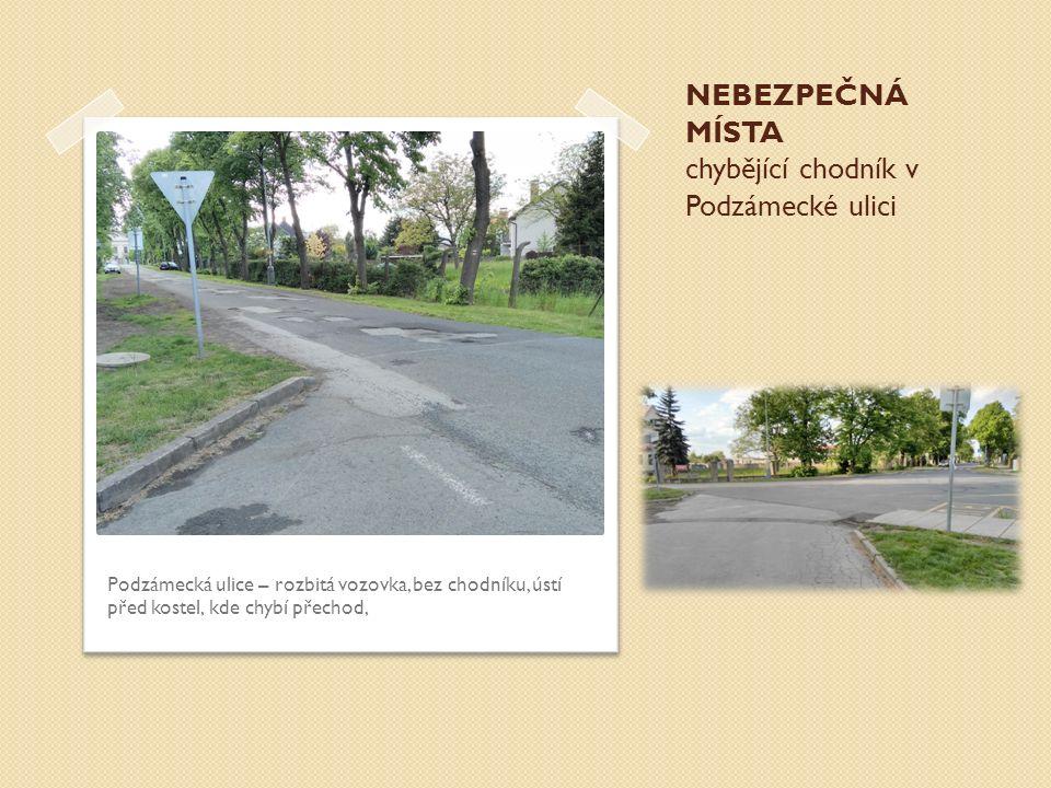 NEBEZPEČNÁ MÍSTA chybějící chodník v Podzámecké ulici Podzámecká ulice – rozbitá vozovka, bez chodníku, ústí před kostel, kde chybí přechod,
