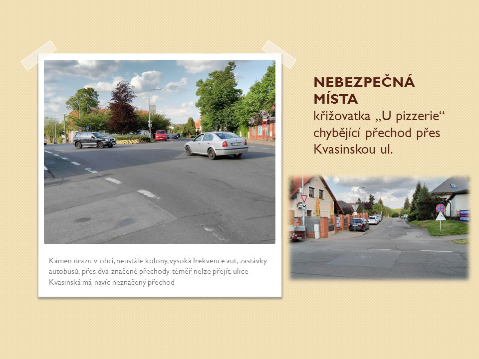 """NEBEZPEČNÁ MÍSTA křižovatka """"U pizzerie"""" chybějící přechod přes Kvasinskou ul. Kámen úrazu v obci, neustálé kolony, vysoká frekvence aut, zastávky aut"""