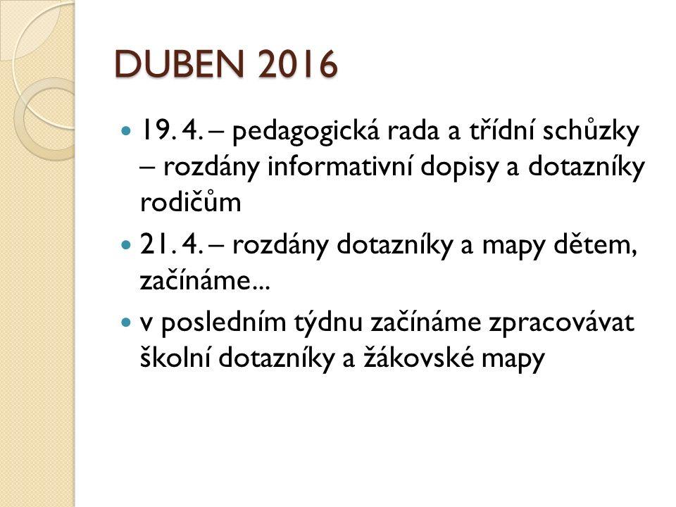 DUBEN 2016 19. 4. – pedagogická rada a třídní schůzky – rozdány informativní dopisy a dotazníky rodičům 21. 4. – rozdány dotazníky a mapy dětem, začín
