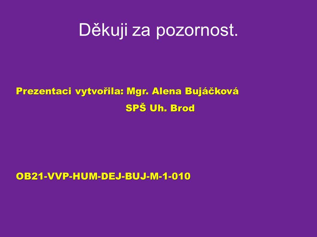 Děkuji za pozornost. Prezentaci vytvořila: Mgr. Alena Bujáčková SPŠ Uh.