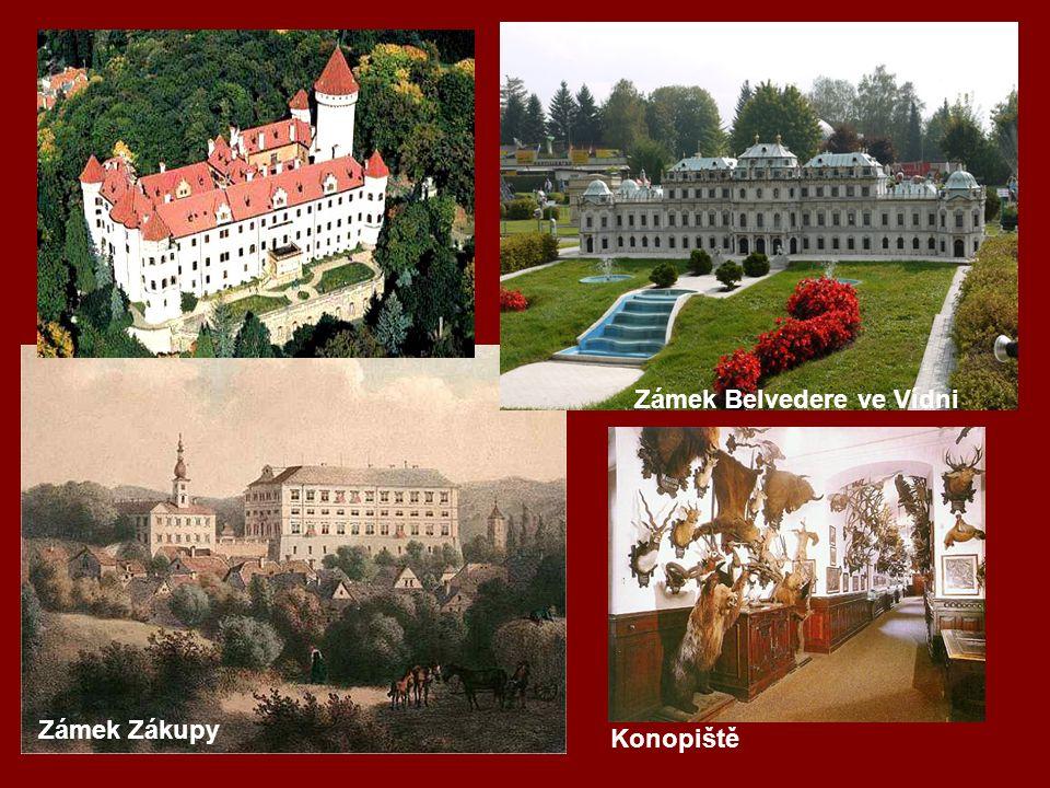 Zámek Belvedere ve Vídni Zámek Zákupy Konopiště
