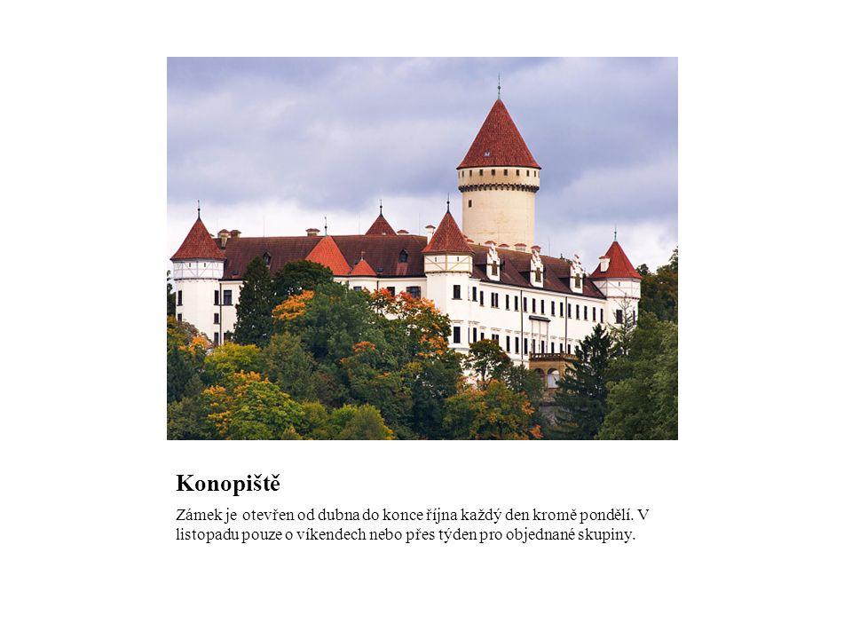 Konopiště Zámek je otevřen od dubna do konce října každý den kromě pondělí.