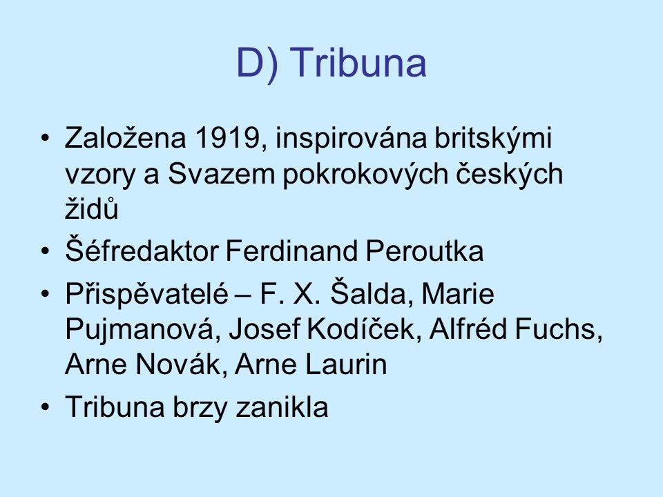 D) Tribuna Založena 1919, inspirována britskými vzory a Svazem pokrokových českých židů Šéfredaktor Ferdinand Peroutka Přispěvatelé – F.