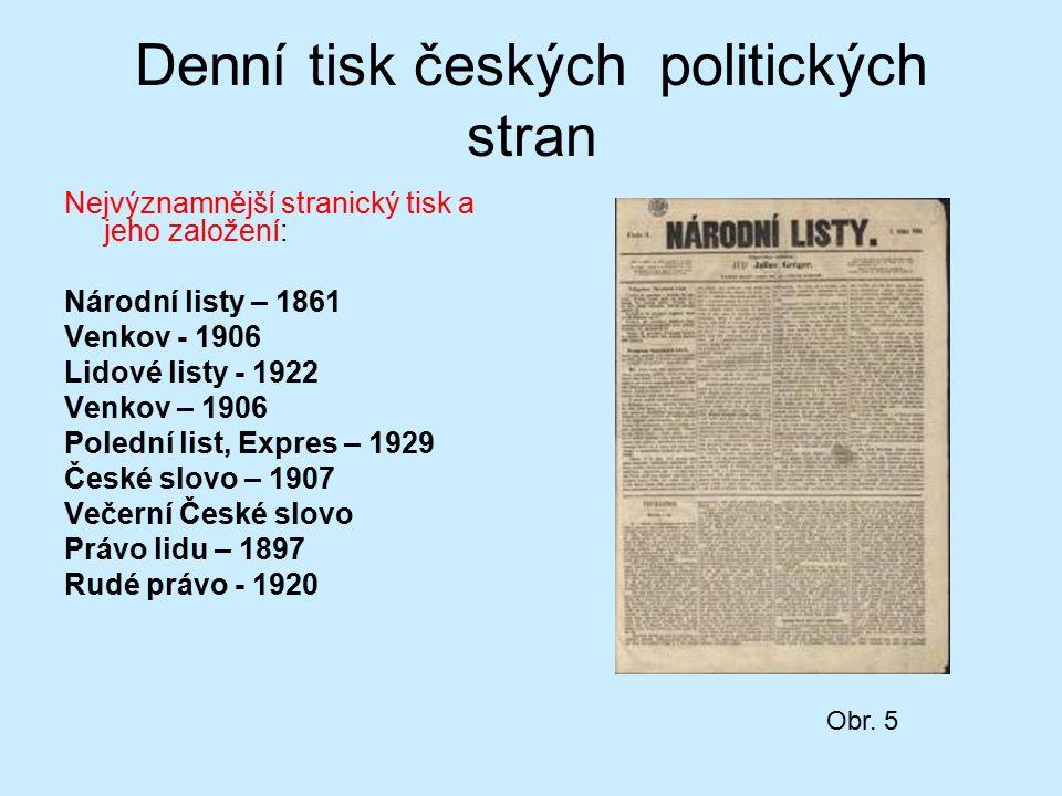 Denní tisk českých politických stran Nejvýznamnější stranický tisk a jeho založení: Národní listy – 1861 Venkov - 1906 Lidové listy - 1922 Venkov – 19