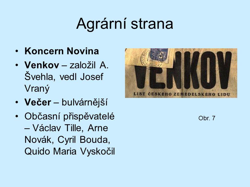Agrární strana Koncern Novina Venkov – založil A.
