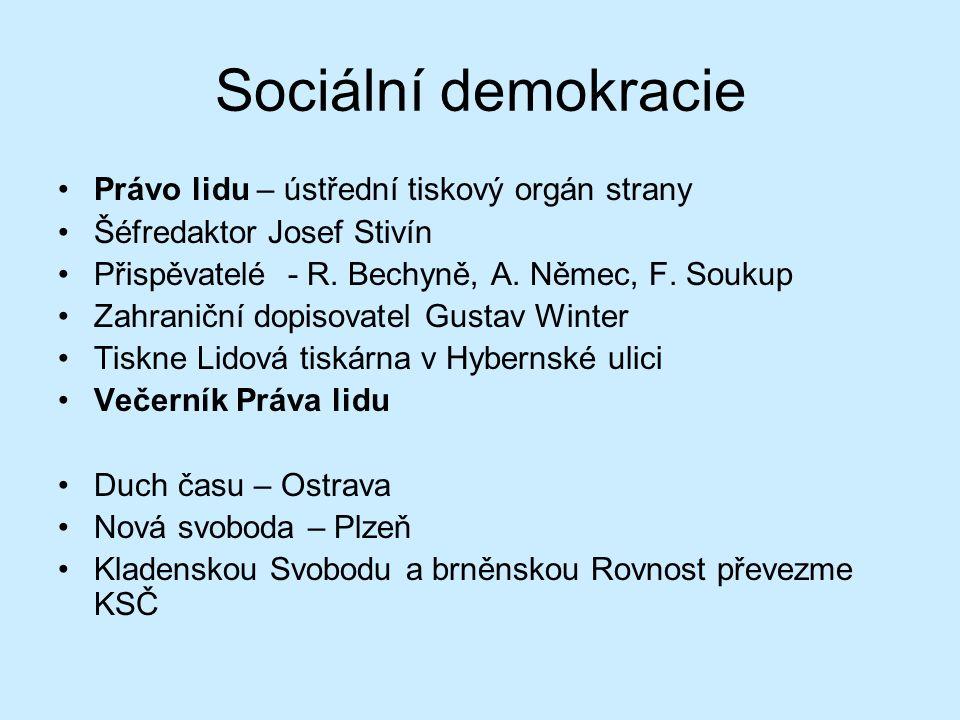 Sociální demokracie Právo lidu – ústřední tiskový orgán strany Šéfredaktor Josef Stivín Přispěvatelé - R. Bechyně, A. Němec, F. Soukup Zahraniční dopi
