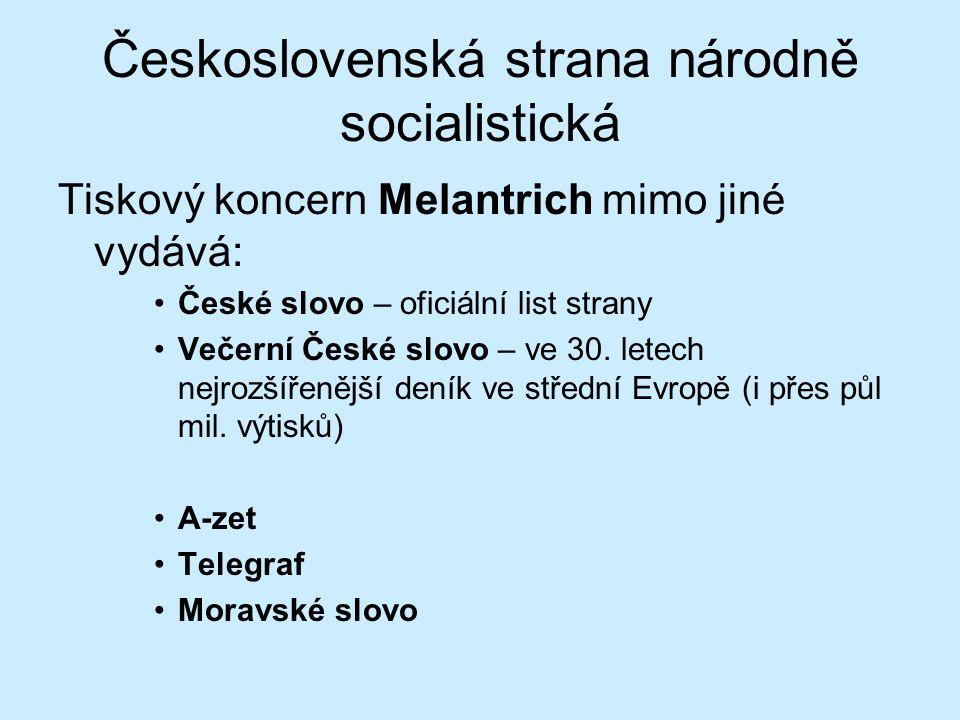 Československá strana národně socialistická Tiskový koncern Melantrich mimo jiné vydává: České slovo – oficiální list strany Večerní České slovo – ve 30.