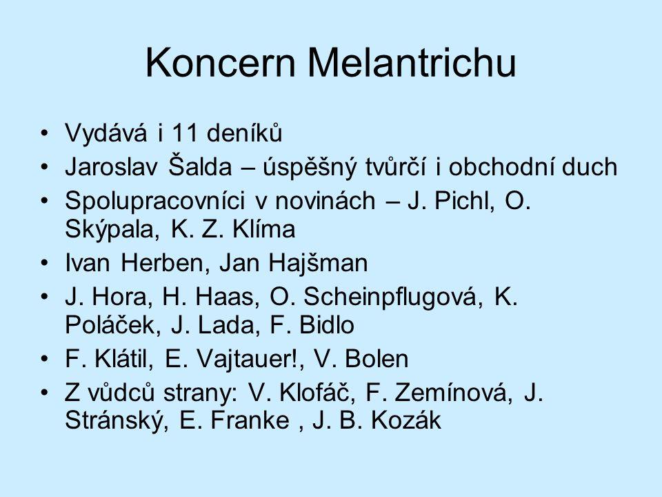 Koncern Melantrichu Vydává i 11 deníků Jaroslav Šalda – úspěšný tvůrčí i obchodní duch Spolupracovníci v novinách – J. Pichl, O. Skýpala, K. Z. Klíma
