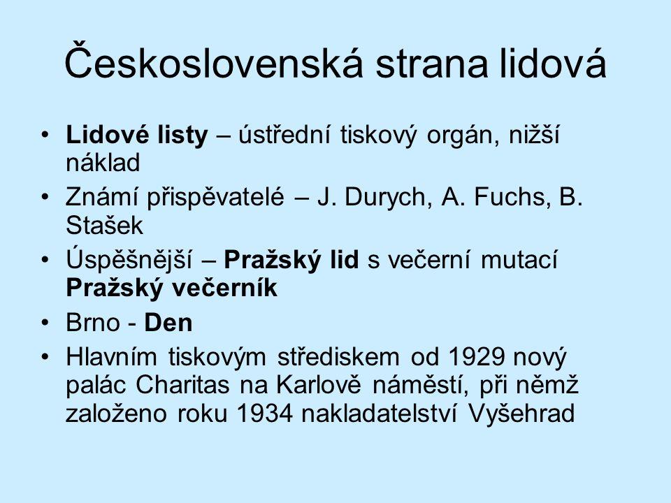 Československá strana lidová Lidové listy – ústřední tiskový orgán, nižší náklad Známí přispěvatelé – J.