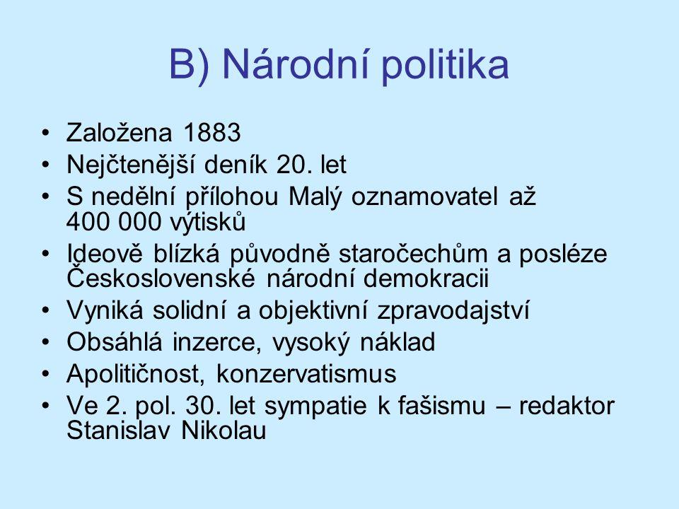 B) Národní politika Založena 1883 Nejčtenější deník 20.
