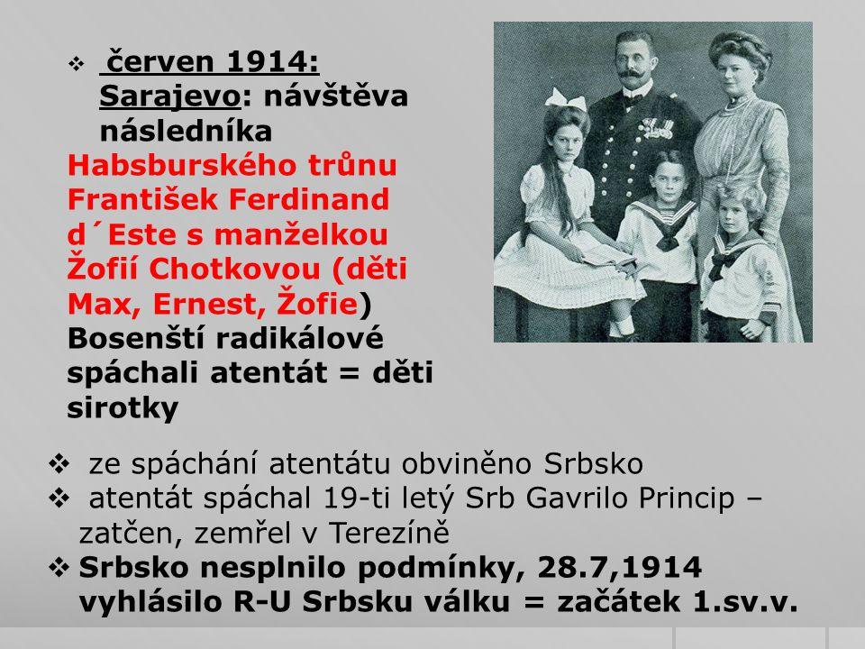  červen 1914: Sarajevo: návštěva následníka Habsburského trůnu František Ferdinand d´Este s manželkou Žofií Chotkovou (děti Max, Ernest, Žofie) Bosenští radikálové spáchali atentát = děti sirotky  ze spáchání atentátu obviněno Srbsko  atentát spáchal 19-ti letý Srb Gavrilo Princip – zatčen, zemřel v Terezíně  Srbsko nesplnilo podmínky, 28.7,1914 vyhlásilo R-U Srbsku válku = začátek 1.sv.v.