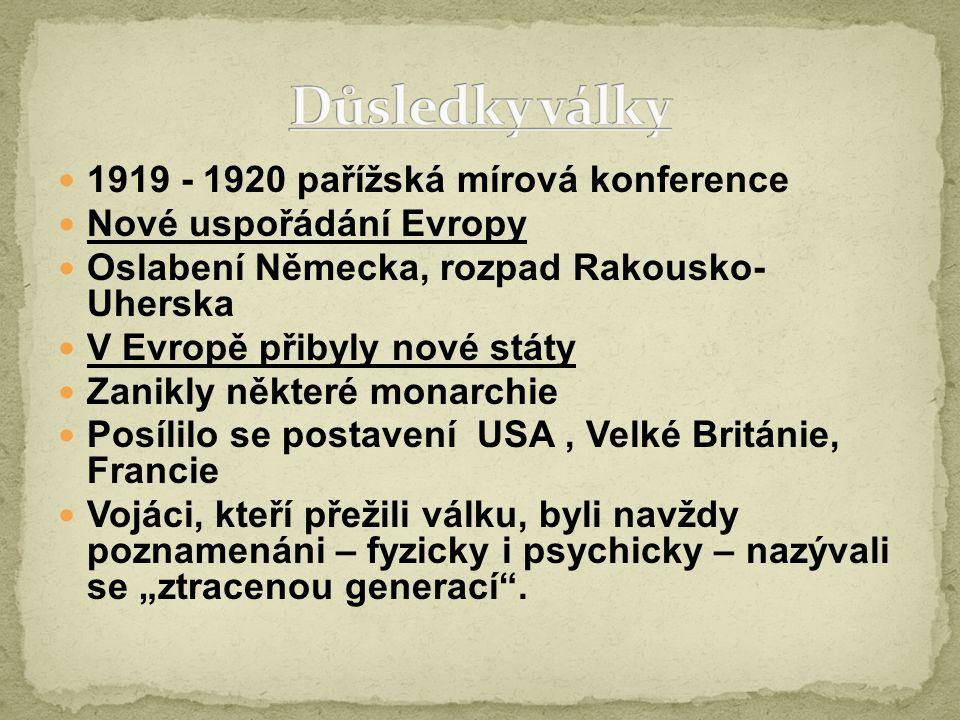 1919 - 1920 pařížská mírová konference Nové uspořádání Evropy Oslabení Německa, rozpad Rakousko- Uherska V Evropě přibyly nové státy Zanikly některé m