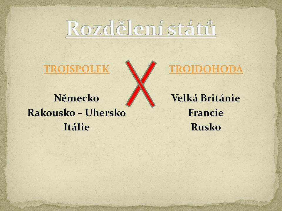 TROJSPOLEK Německo Rakousko – Uhersko Itálie TROJDOHODA Velká Británie Francie Rusko