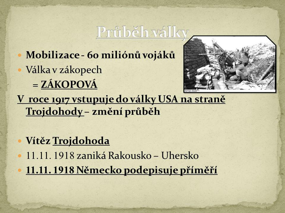 Mobilizace - 60 miliónů vojáků Válka v zákopech = ZÁKOPOVÁ V roce 1917 vstupuje do války USA na straně Trojdohody – změní průběh Vítěz Trojdohoda 11.1