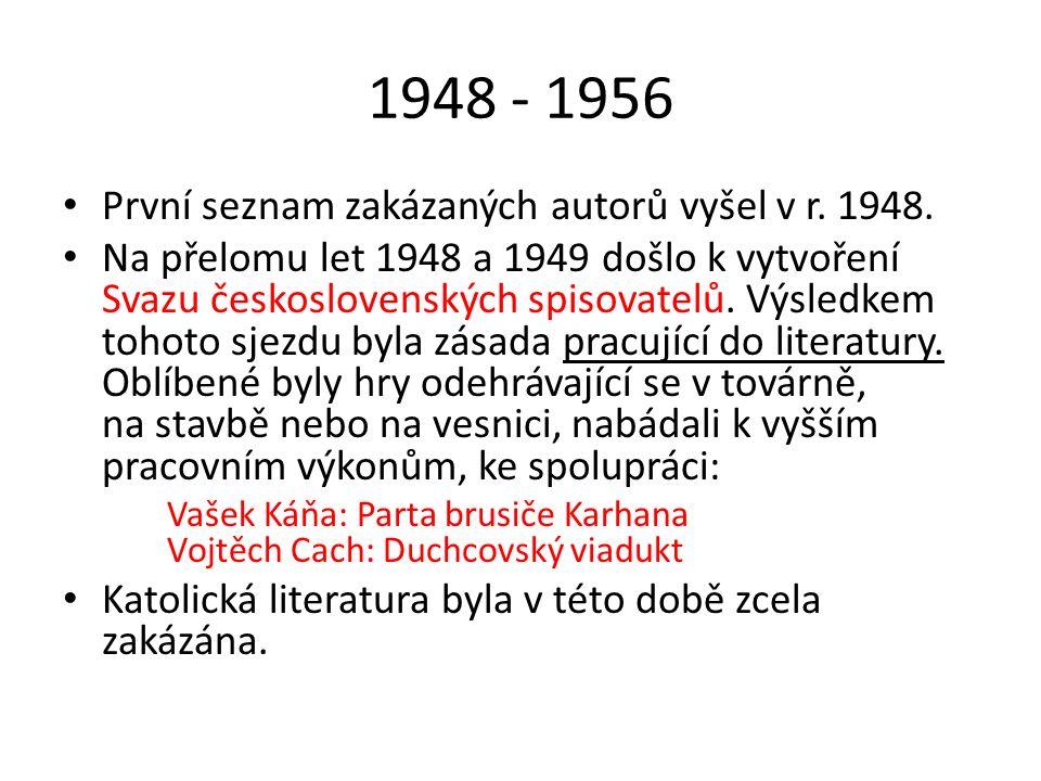 1948 - 1956 První seznam zakázaných autorů vyšel v r. 1948. Na přelomu let 1948 a 1949 došlo k vytvoření Svazu československých spisovatelů. Výsledkem