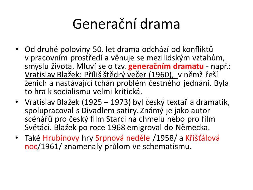 Generační drama Od druhé poloviny 50. let drama odchází od konfliktů v pracovním prostředí a věnuje se mezilidským vztahům, smyslu života. Mluví se o
