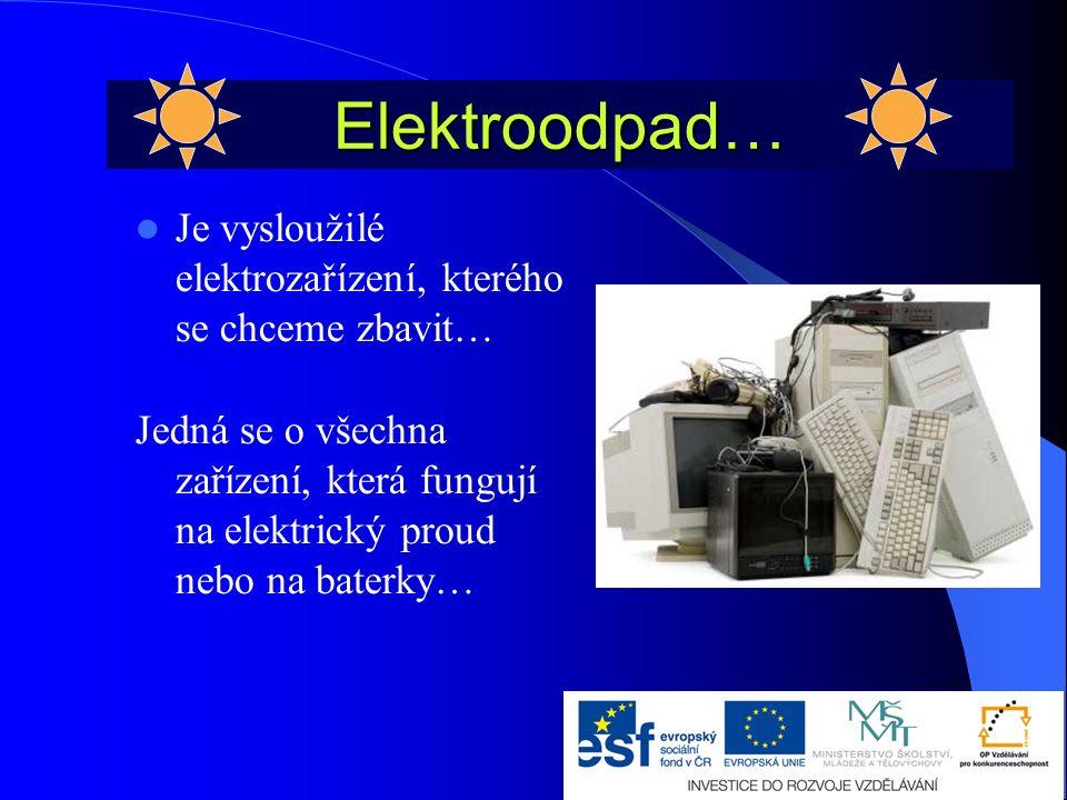 Elektroodpad… Je vysloužilé elektrozařízení, kterého se chceme zbavit… Jedná se o všechna zařízení, která fungují na elektrický proud nebo na baterky…